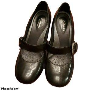 Clarks Leather Mary Jane Heels